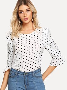 Dot Print Ruffle Sleeve Blouse
