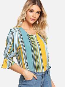 Flounce Sleeve Stripe Blouse