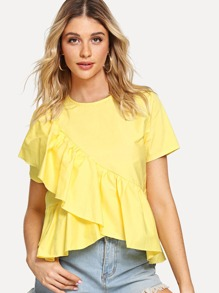 Ruffle Contrast Blouse