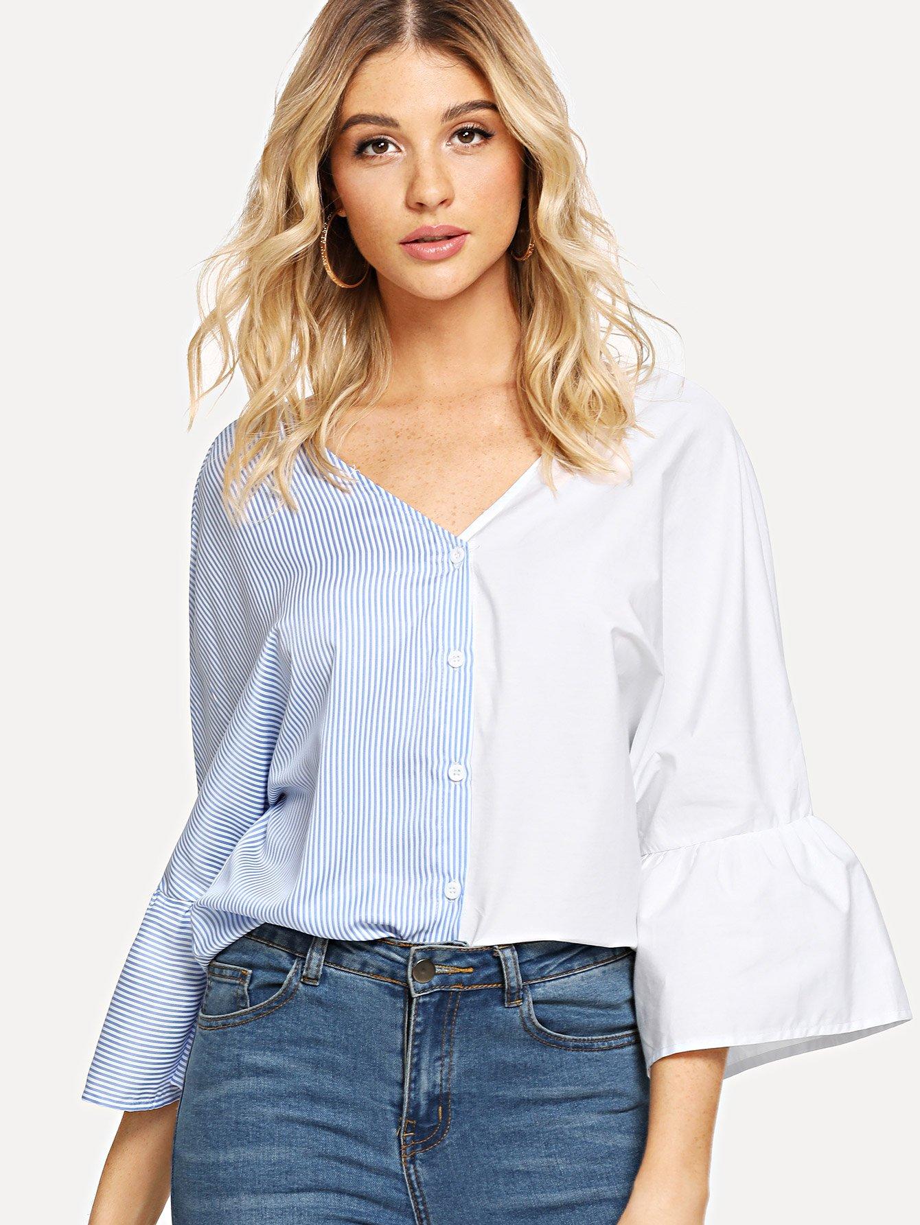 Купить Полосатая рубашка с двухцветными расклешенными рукавами, Nathane, SheIn