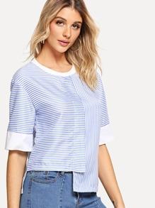 Asymmetrical Hem Stripe Blouse