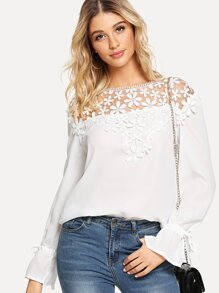 Lace Contrast Ruffle Sleeve Blouse