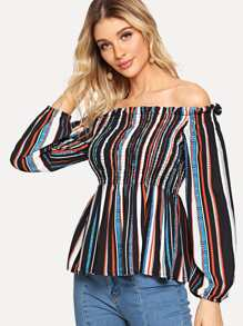 Off-Shoulder Multi-Stripe Blouse