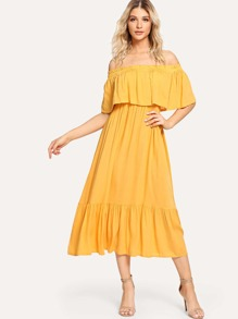 Off-Shoulder Ruffle Hem Dress