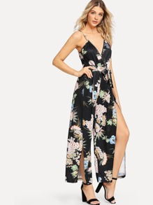 Floral Split Front Wide Leg Suspender Jumpsuit