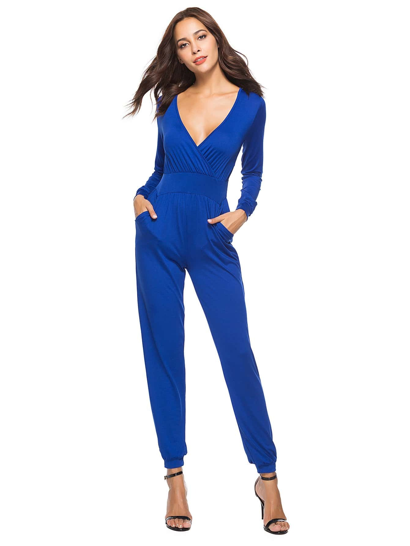 Surplice Wrap Jumpsuit mixed print surplice wrap jumpsuit