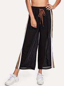 Stripe Contrast Wide Leg Pants