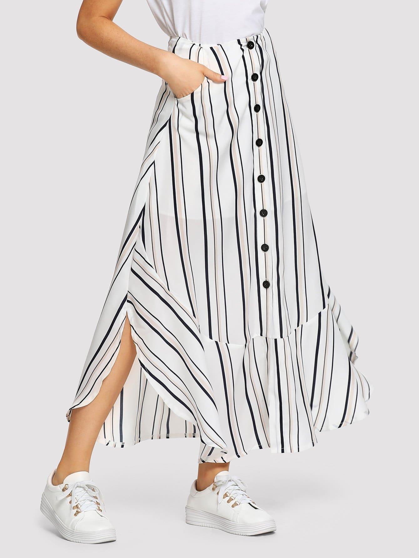 Купить Полосатая юбка с кнопками и оборка подола, Nathane, SheIn