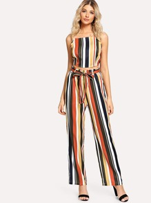 Bow Tie Back Stripe Cami Top & Wide Leg Pants