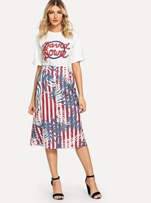 Letter Print Tee & Stripe Skirt