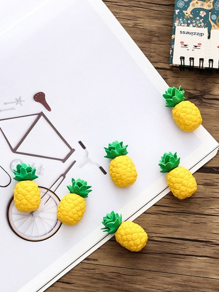 Pineapple Shaped Eraser 3pcs pineapple shaped keychain