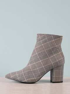 Plaid Pointed Toe Booties