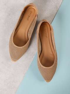 Cut Out Pointed Toe Flats
