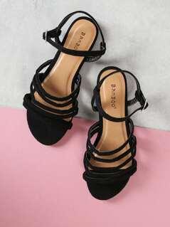 Multi Strap Faux Suede Sandals