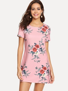 Scallop Trim Botanical Print Tunic Dress
