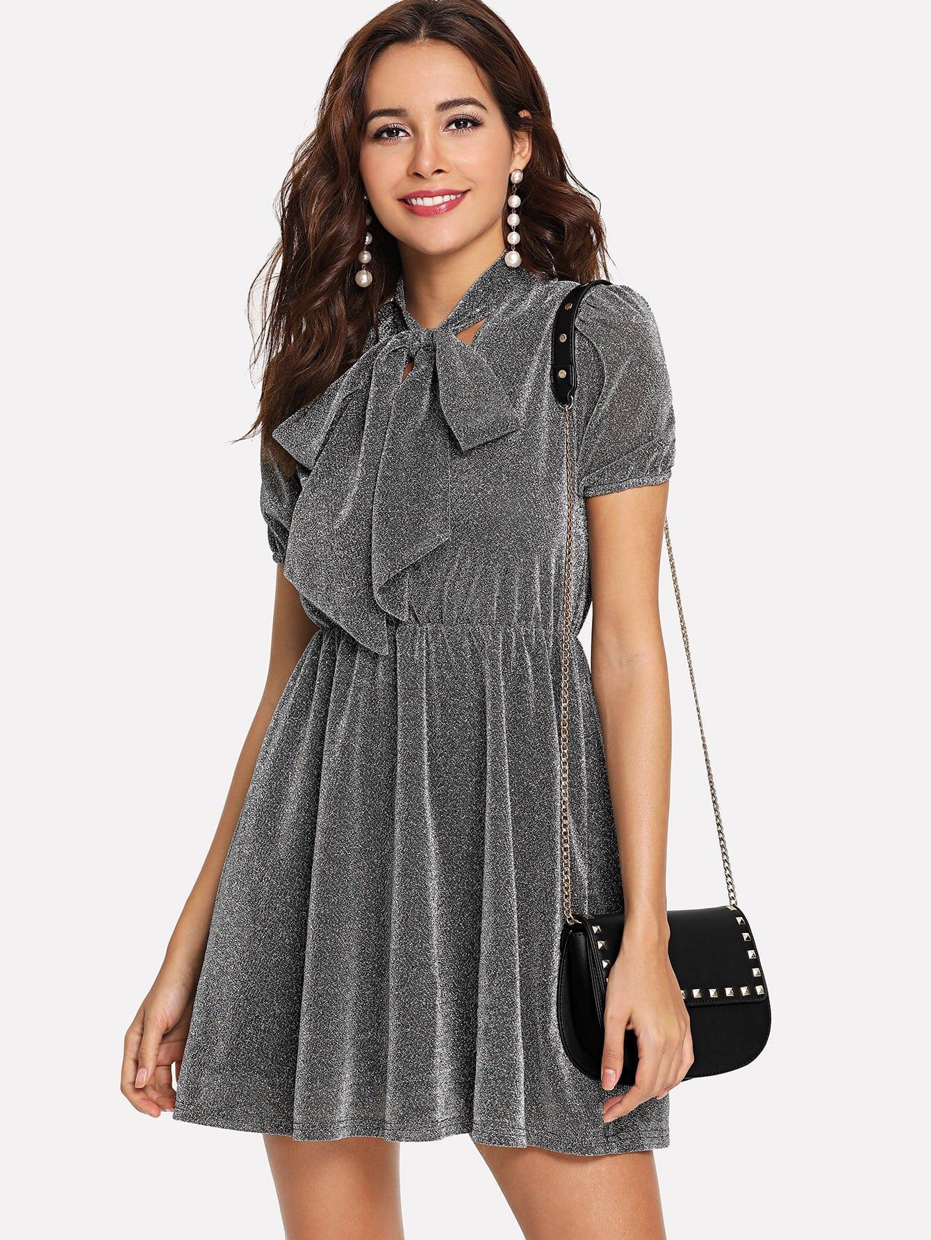Tie Neck Elastic Waist Glitter Dress tie neck elastic waist glitter dress