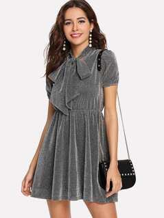 Tie Neck Elastic Waist Glitter Dress