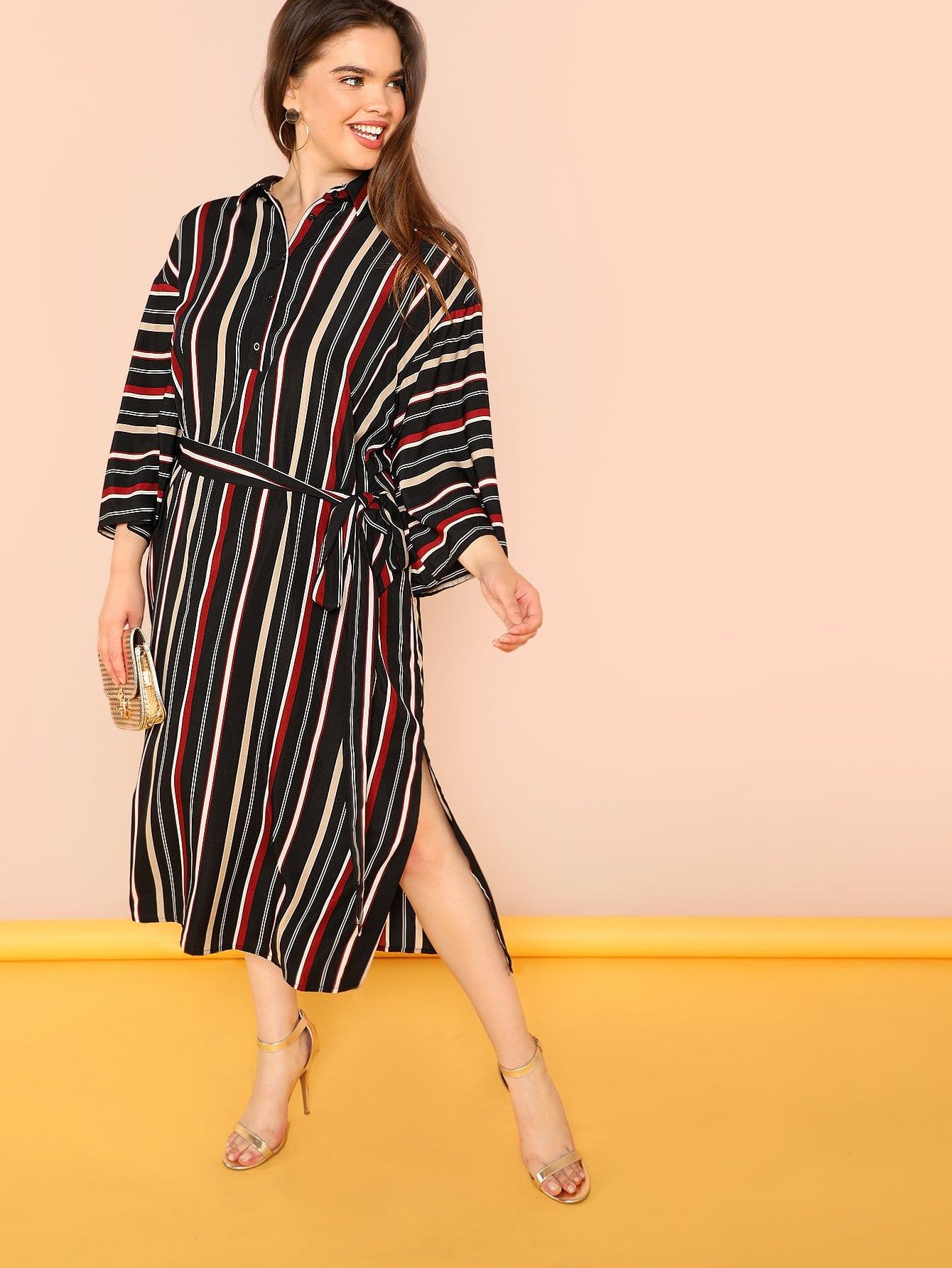 Купить Платье рубашка с полосками, Faith Bowman, SheIn