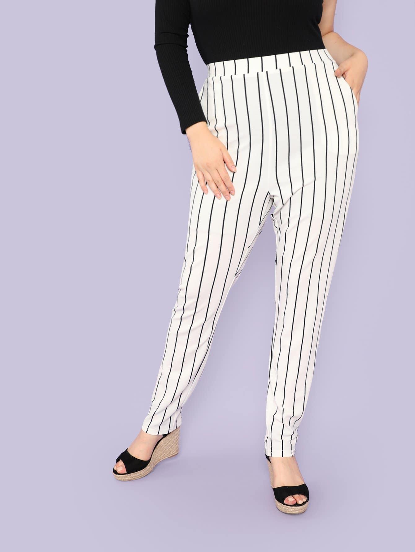 Plus Vertical-Stripe Skinny Carrot Pants brand new chrome black custom skeleton mirrors for suzuki intruder volusia vs 700 750 800 1400 1500
