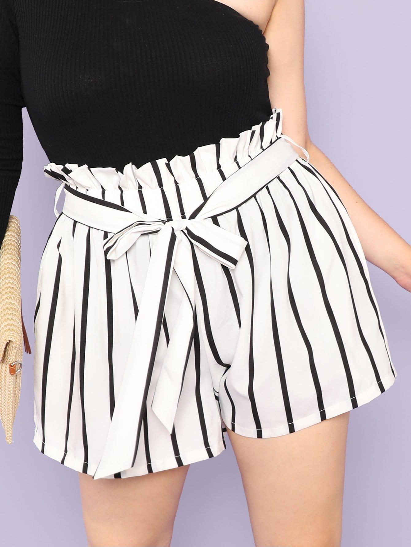 Купить Вертикально-полосатые оборванные шорты, Faith Bowman, SheIn