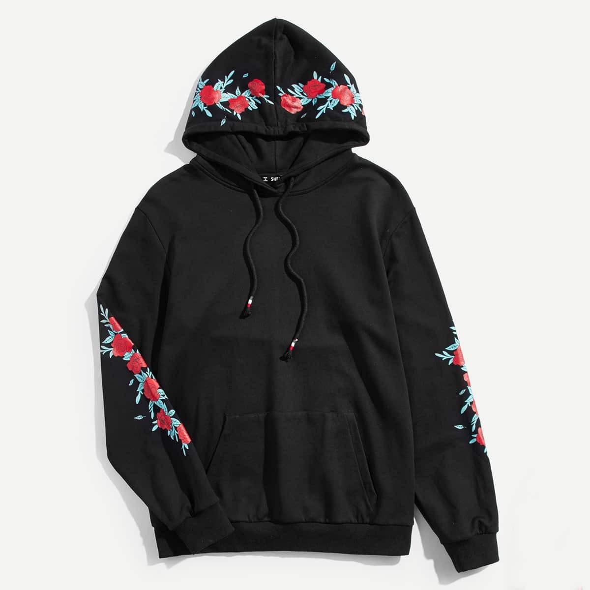 Zwart Casual Koord Bloemen Sweatshirts voor heren