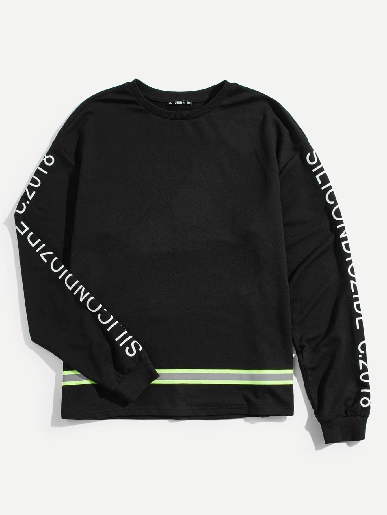 Men Letter Print Striped Tape Detail Sweatshirt frill sleeve tape detail sweatshirt