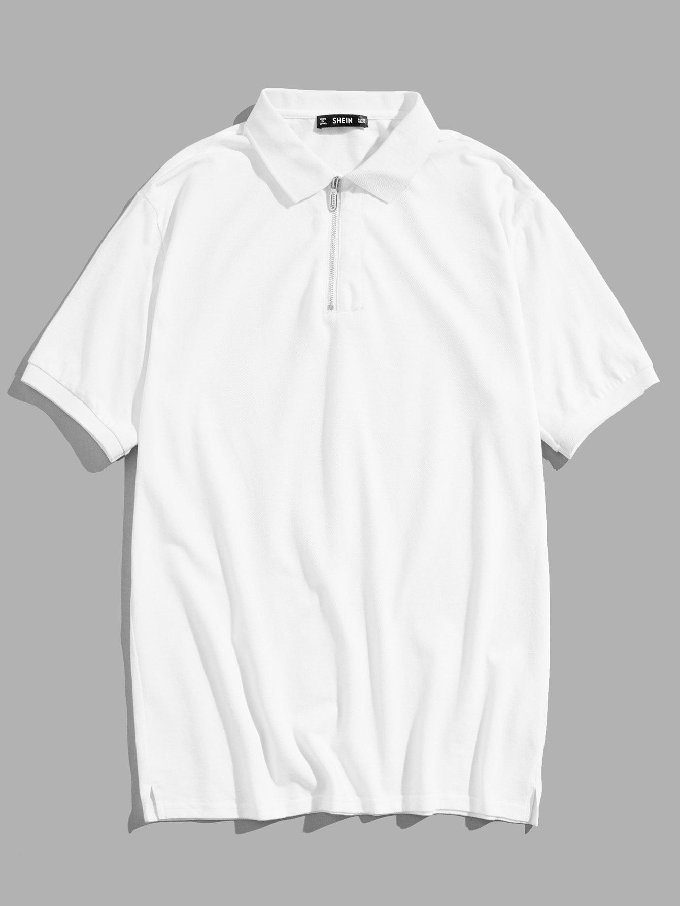 Купить Мужская молния Передняя рубашка-поло, null, SheIn