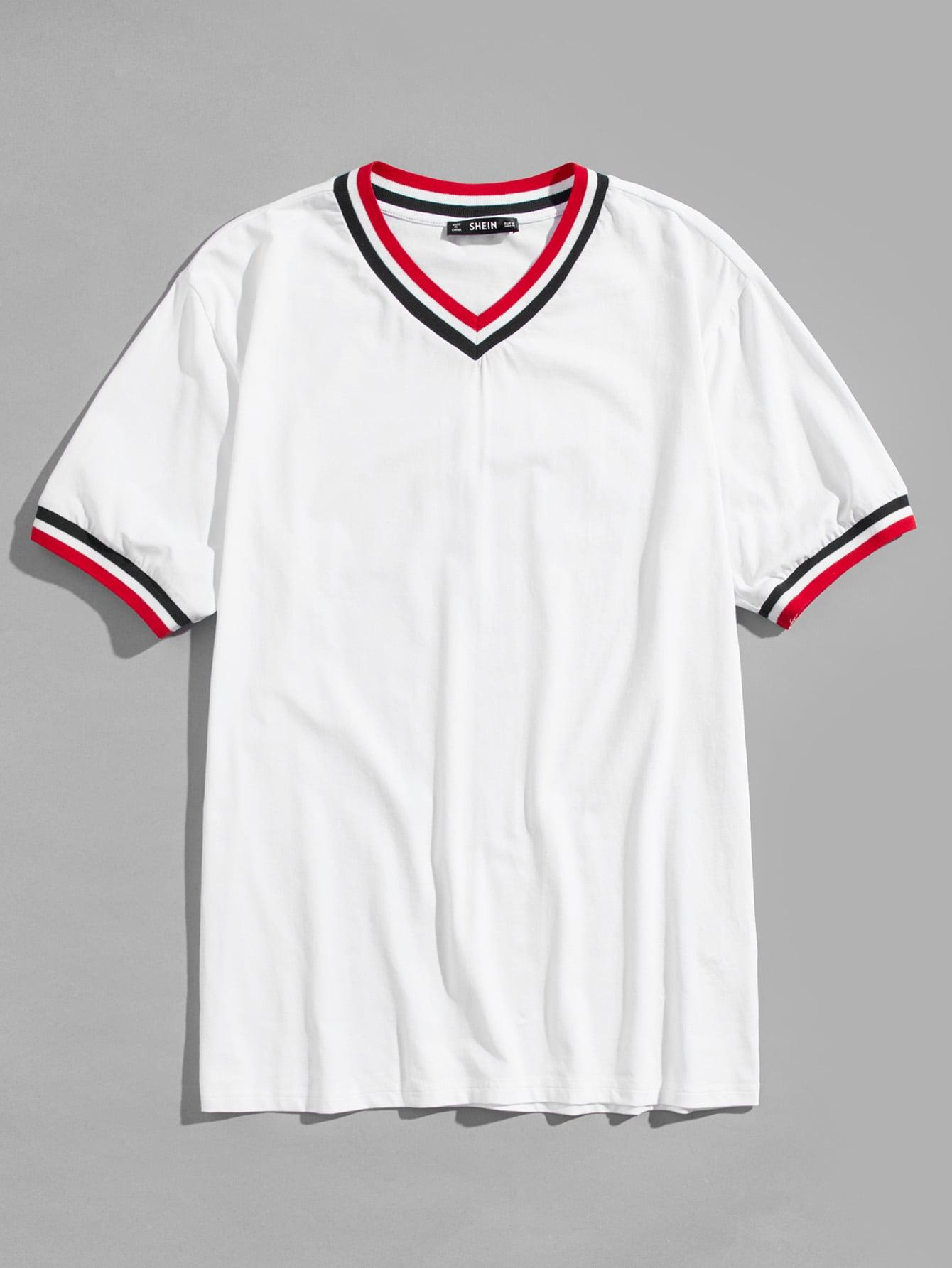 Купить Мужская V-образная вырезная полосатая футболка Trim, null, SheIn