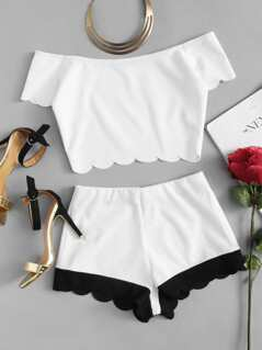Plus Scallop Trim Off Shoulder Top & Shorts Set