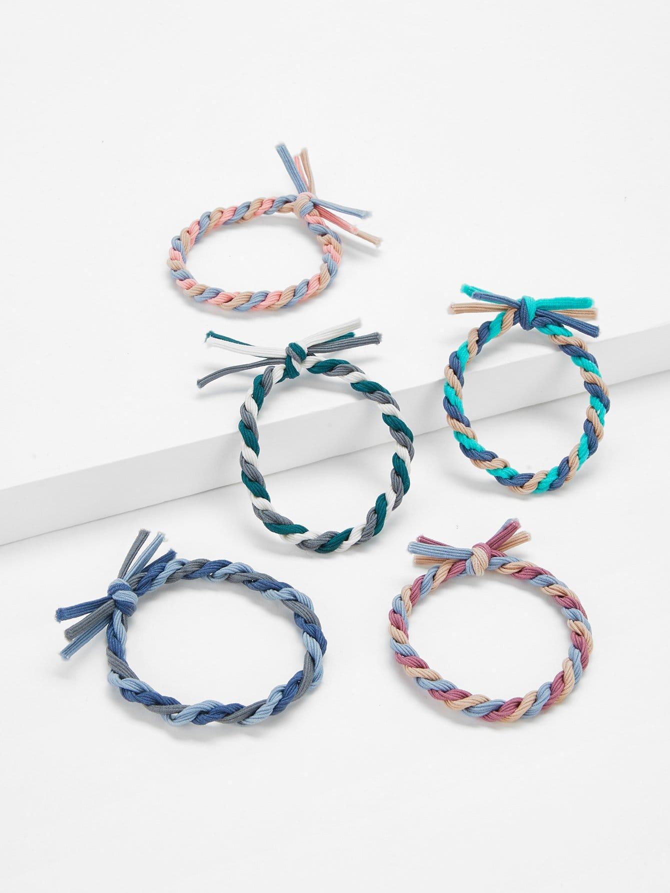 Colorblock Knot Hair Tie 5pcs