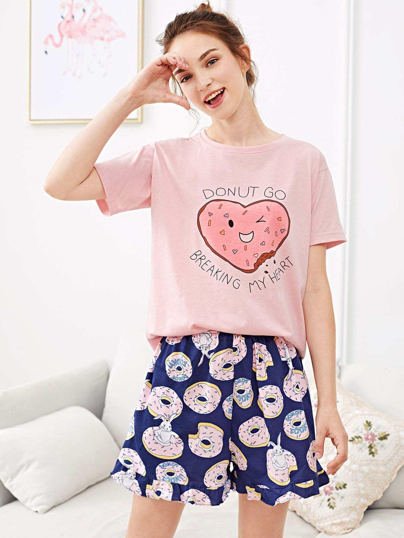 Купить Комплект пижамы с принтом сердце, Tory, SheIn