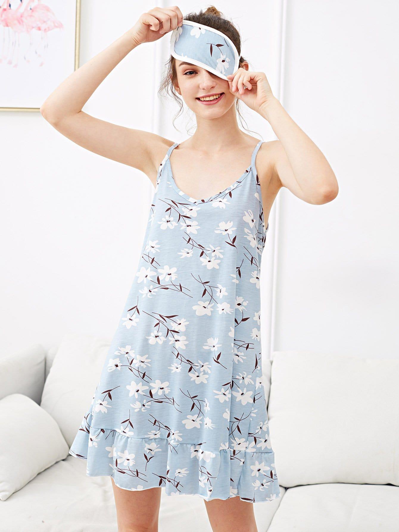 Фото - Flower Print Ruffle Hem Night Dress With Eye Mask ruffle hem solid pajama set with eye mask