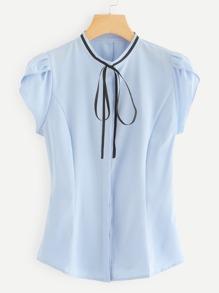Petal Sleeve Tie Neck Blouse