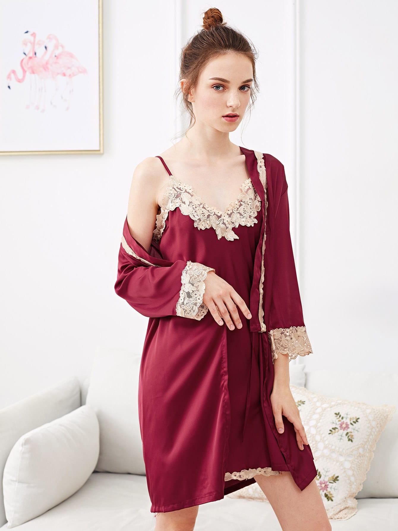 Lace Trim Split Side Cami Dress With Robe solid split hem cami dress