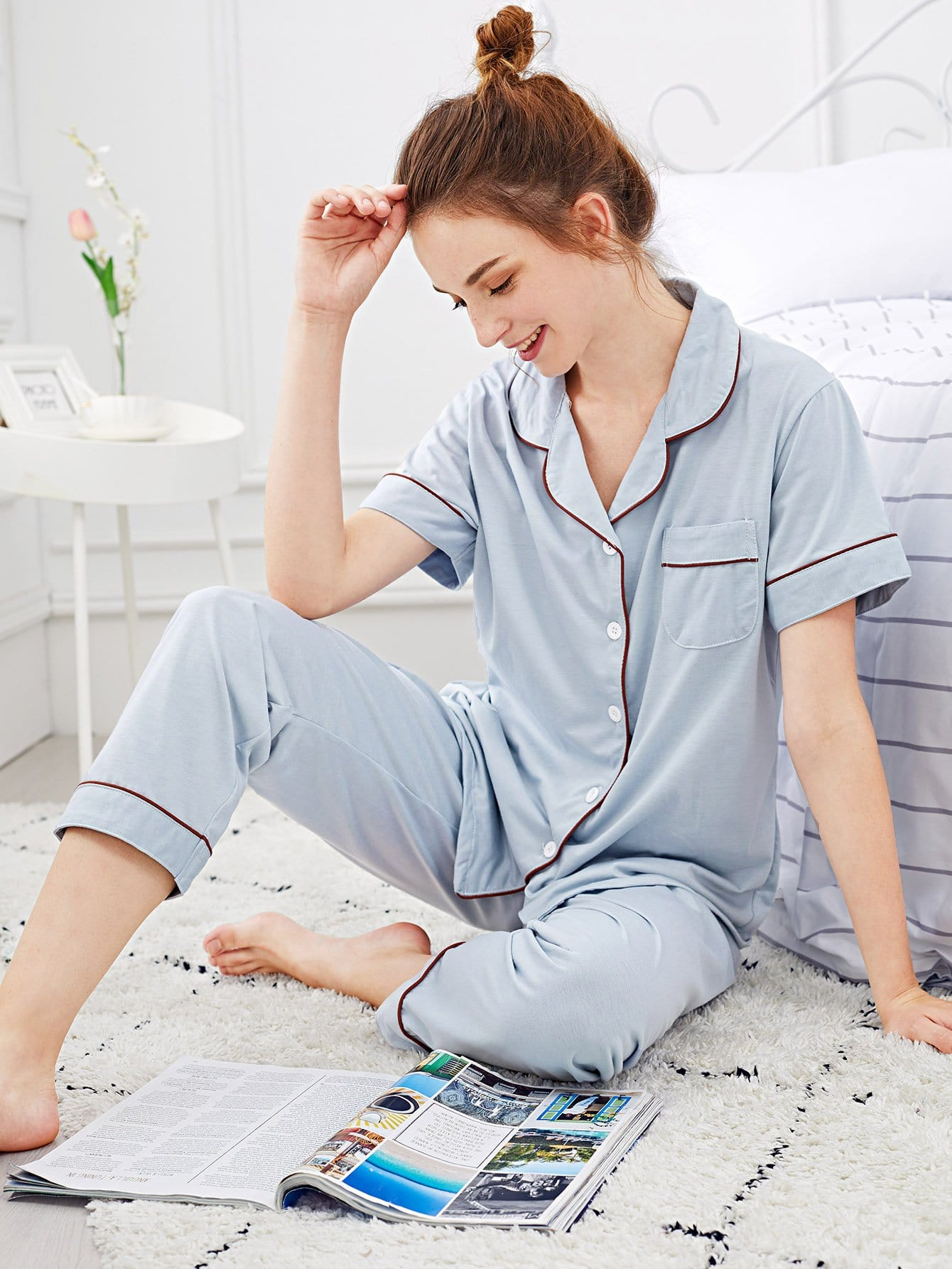 Контрастность Binding Button Up Pajama Set