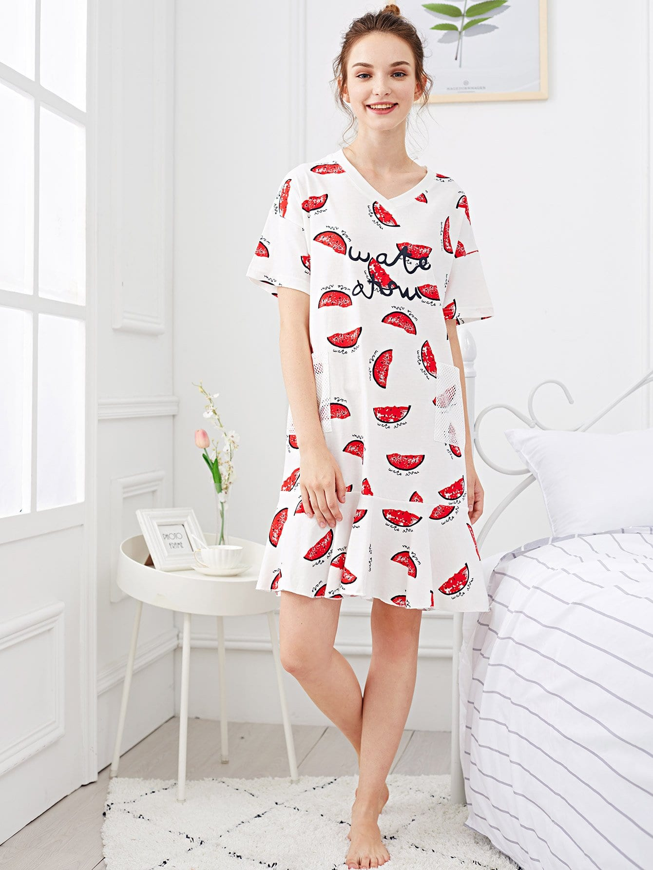 Watermelon Print Ruffle Hem Night Dress