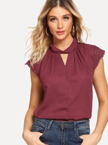 Lace Panel Sleeve V Neckline Top