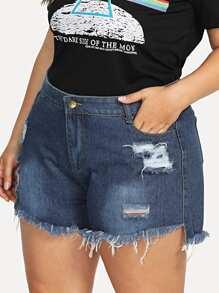 Plus Frayed Hem Ripped Denim Shorts