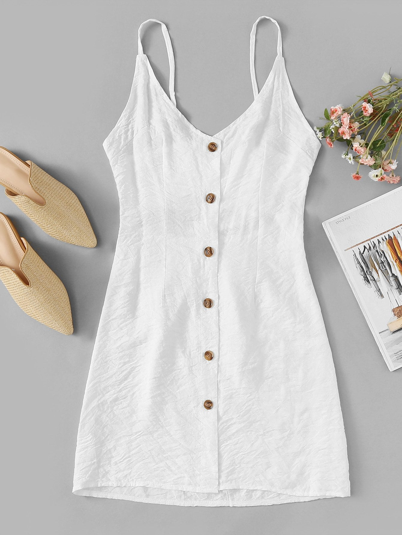 Solid Button Front Strap Dress