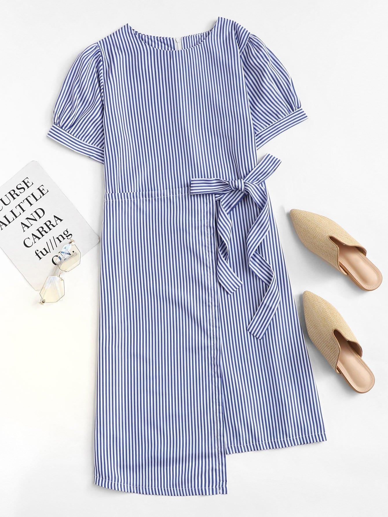 Striped Knot Asymmetric Hem Dress
