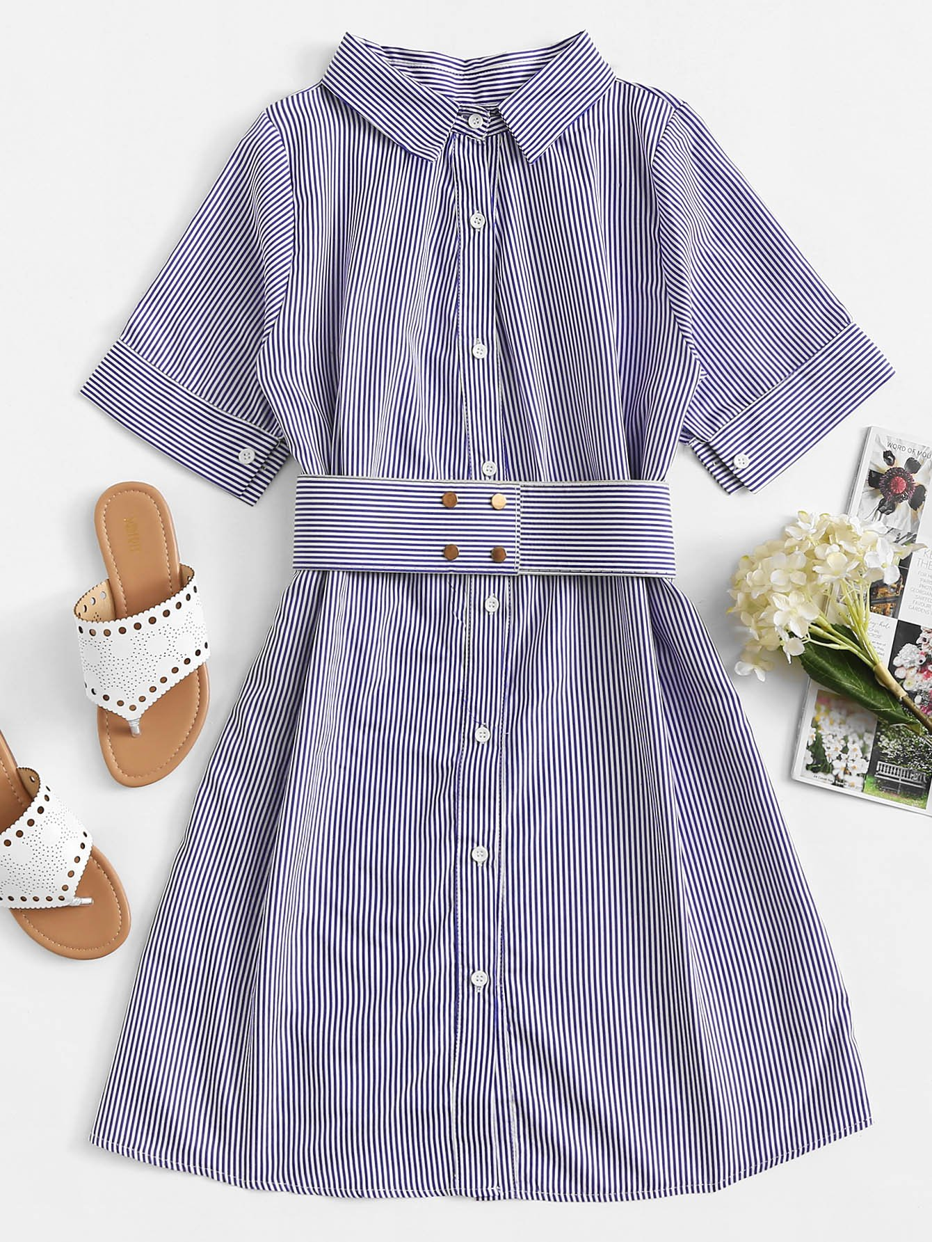 Striped Button Front Belt Dress