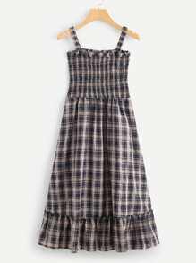 Plaid Pleated Strap Dress