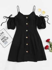 Open Shoulder Knot Button Front Dress