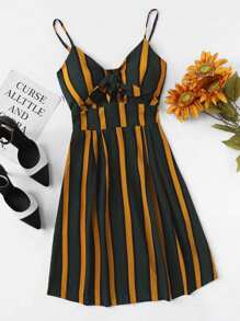 Pleated Back Knot Striped Cami Dress