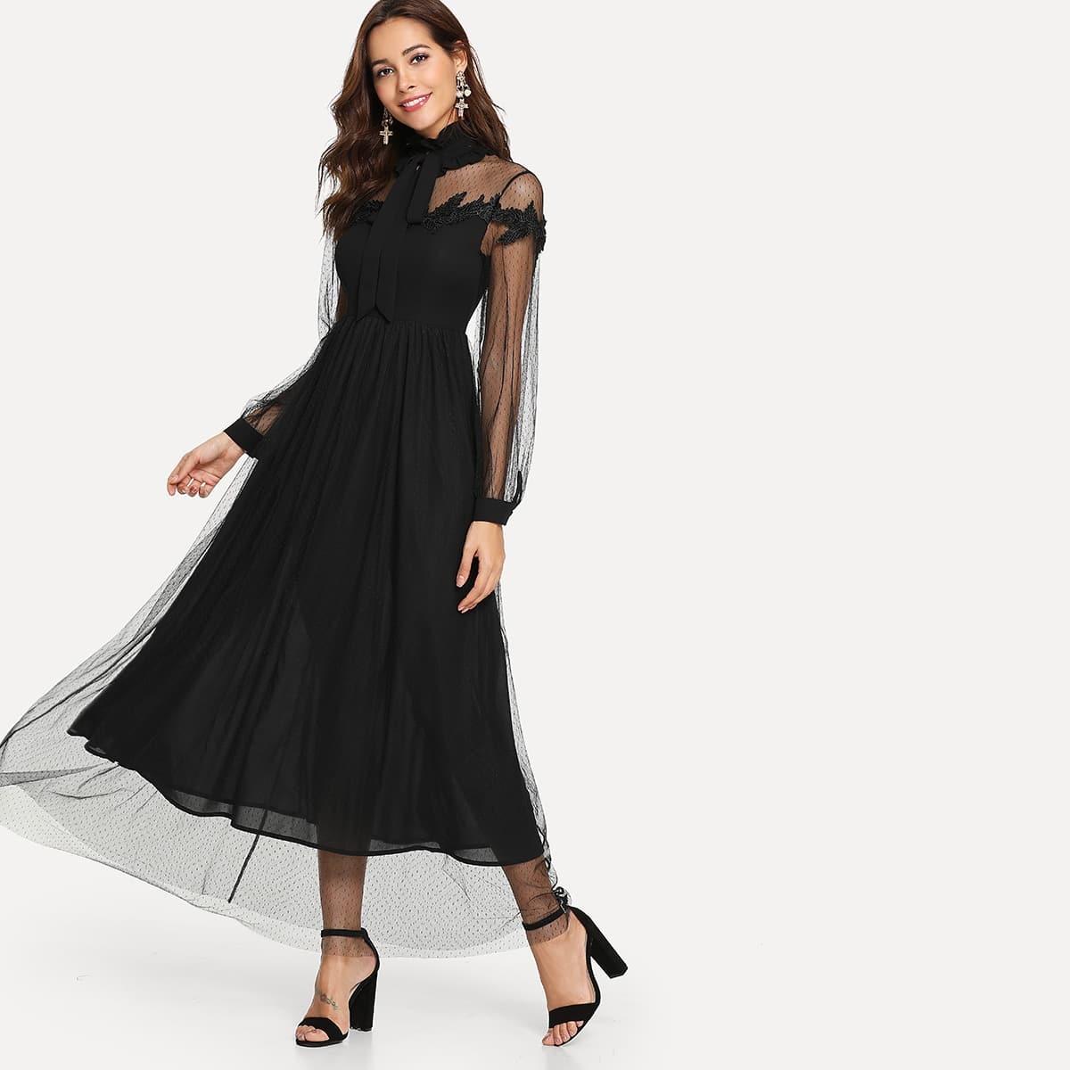 Maxi jurk met doorschijnende overlap