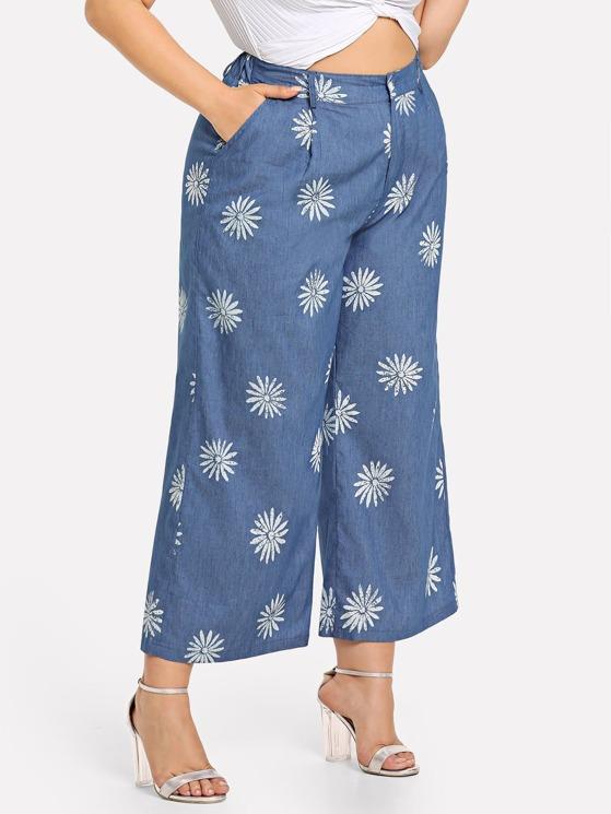 b17f1448bd Plus Flower Print Wide Leg Jeans