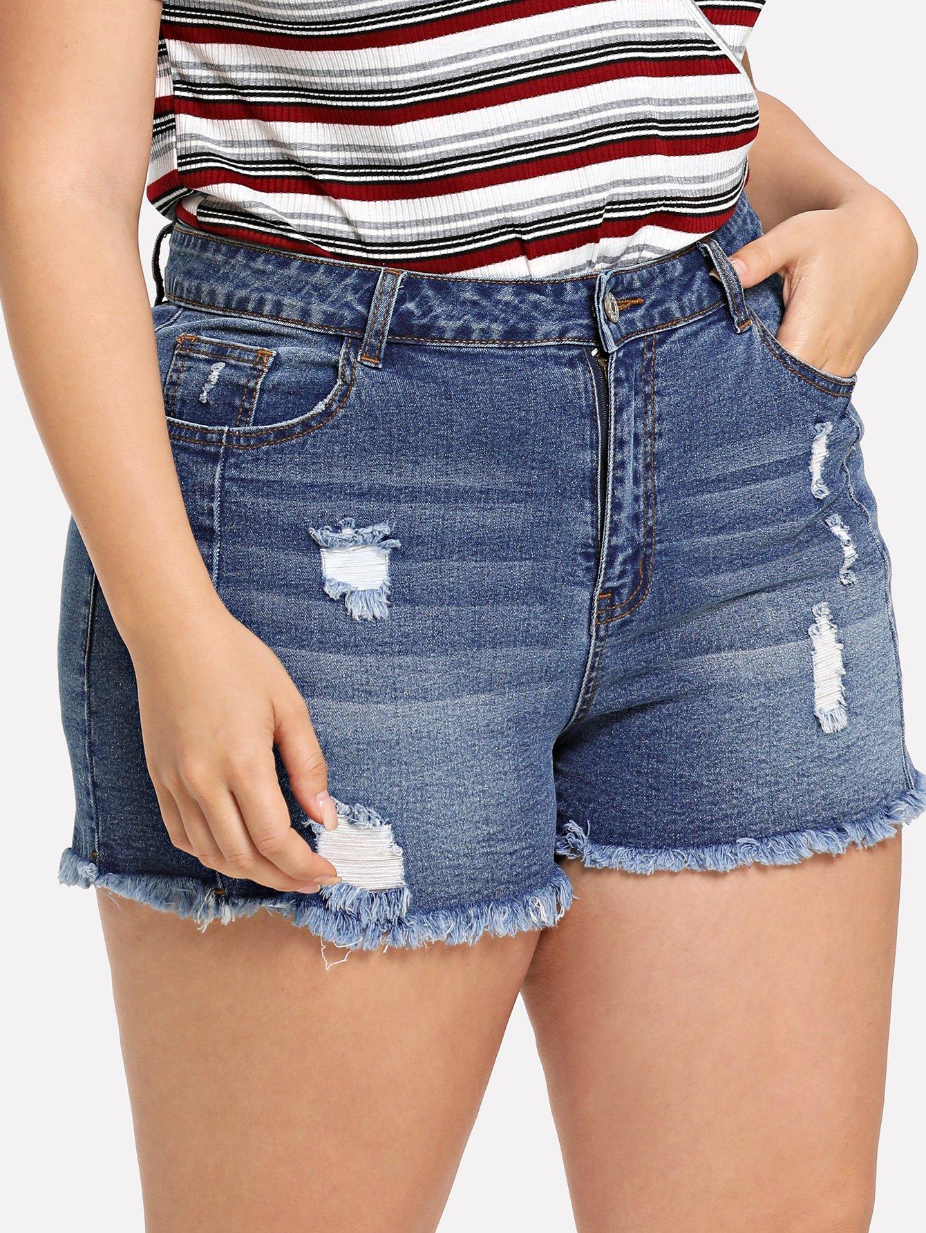 Plus Rips Detail Frayed Denim Shorts rhinestone detail frayed edge tweed skirt