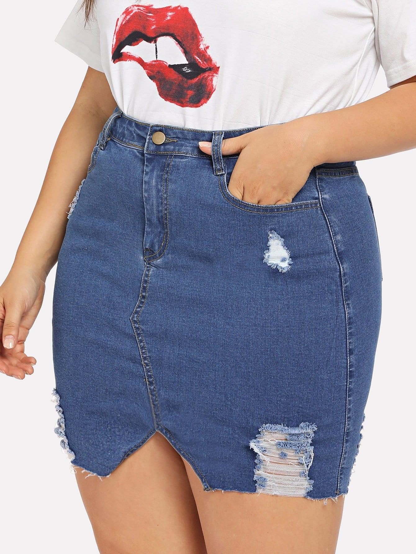 Plus V-Cut Raw Hem Denim Skirt girls single breasted raw hem skirt
