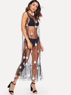 Swan Embroidered Sheer Cover Up Dress without Lingerie Set