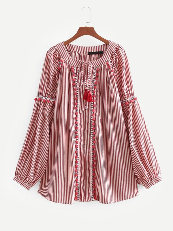 Embroidered Tape Detail Pom Pom Striped Blouse striped embroidery pom pom detail blouse